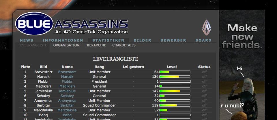 Die offizielle Blue Assassins Webseite