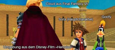 Ja, das ist Cloud Strife aus FFVII, der in der Arena von ›Hercules‹ gegen uns antreten will.