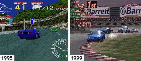 PlayStation 1: Ridge Racer und vier Jahre später Gran Turismo 2 auf dem selben System.