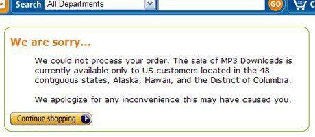 Amazon.com verweigert trotz Tunneling der Verbindung den Kauf von MP3s