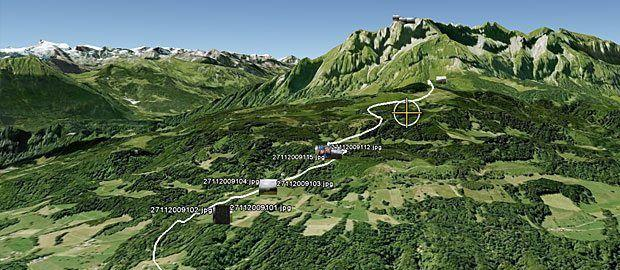 Unsere Bergwanderroute auf dem Pilatus in Google Earth