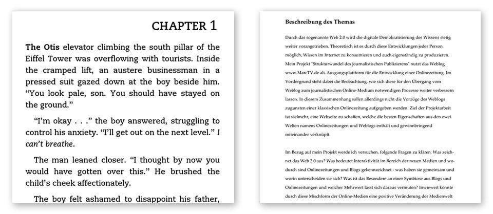Auf dem Kindle: Links ein MOBI eBook und rechts ein zu kleines DIN A4 PDF.