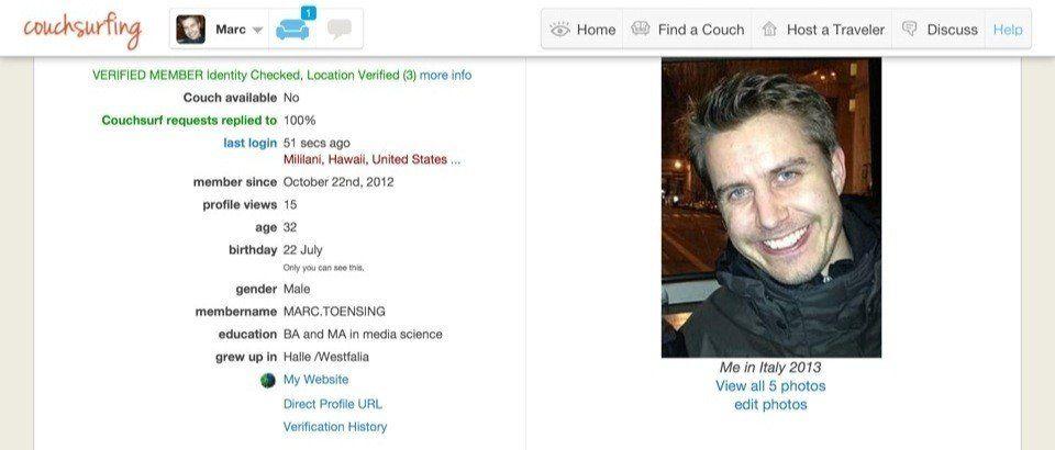 Mein Profil bei CouchSurfing.org