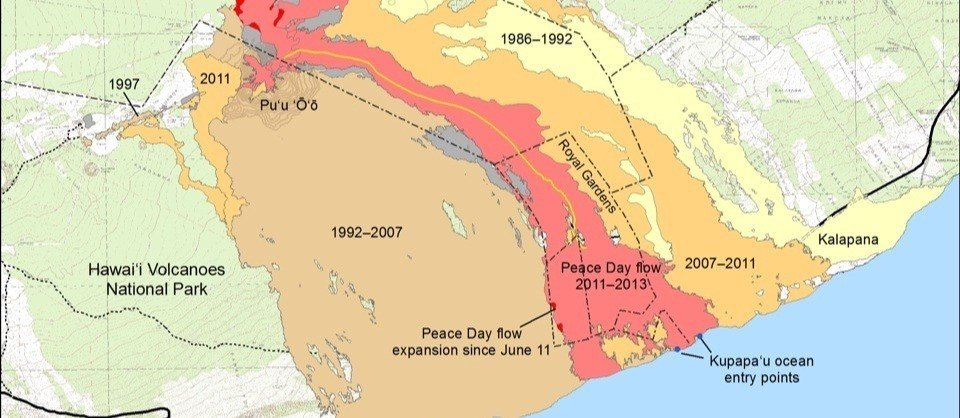 Ganz unten waren wir mit dem Boot. - Map Courtesy USGS - Hawaiian Volcano Observatory