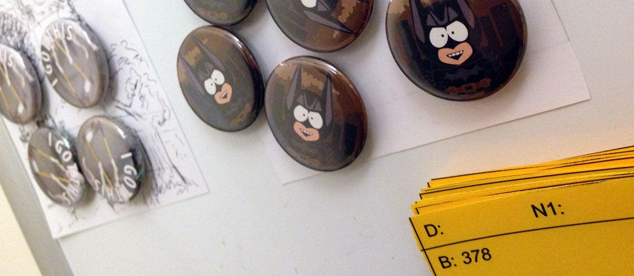 Kanbanboard und Magnete bei uns im Büro