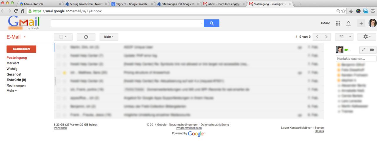Das private und geschäftliche GoogleMail  unterscheidet sich kaum.
