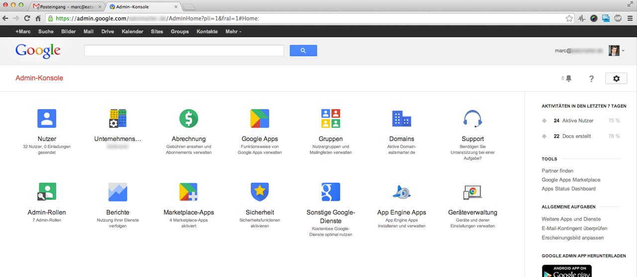 Das Google Apps Backend. MX-Rekords, Weiterleitungen. Rechteübertragungen und viel mehr lassen sich hier einstellen.