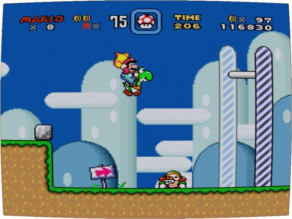 Super Mario World - Football-Spieler am Level Ende