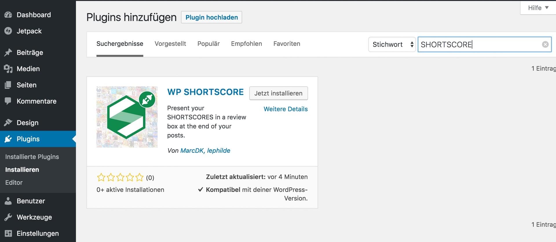 Das SHORTSCORE Plugin kann im Backend von WordPress installiert werden