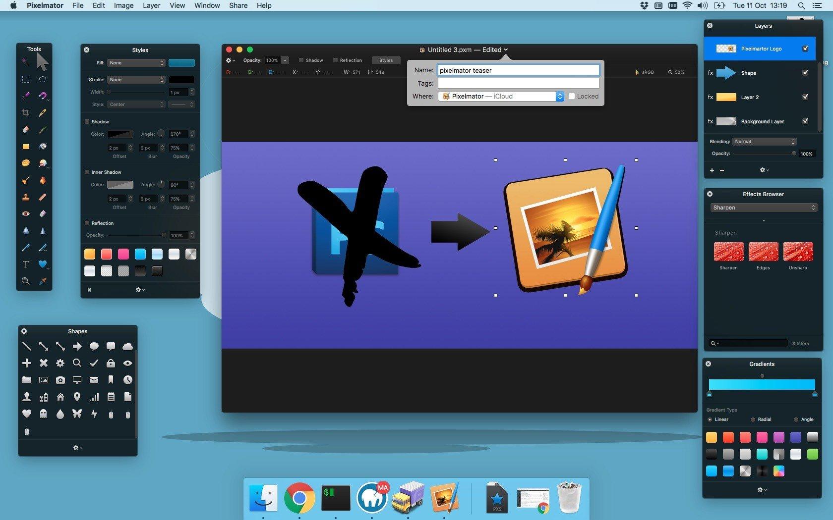Screenshot von Pixelmator macOS