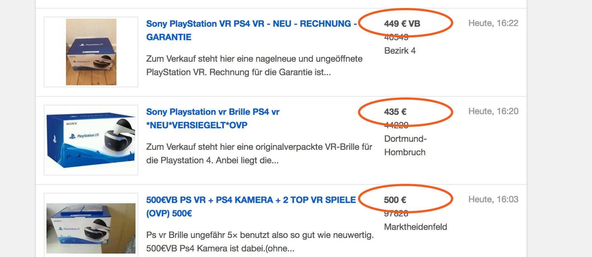 Hohe Preise für PS VR auf eBay Kleinanzeigen