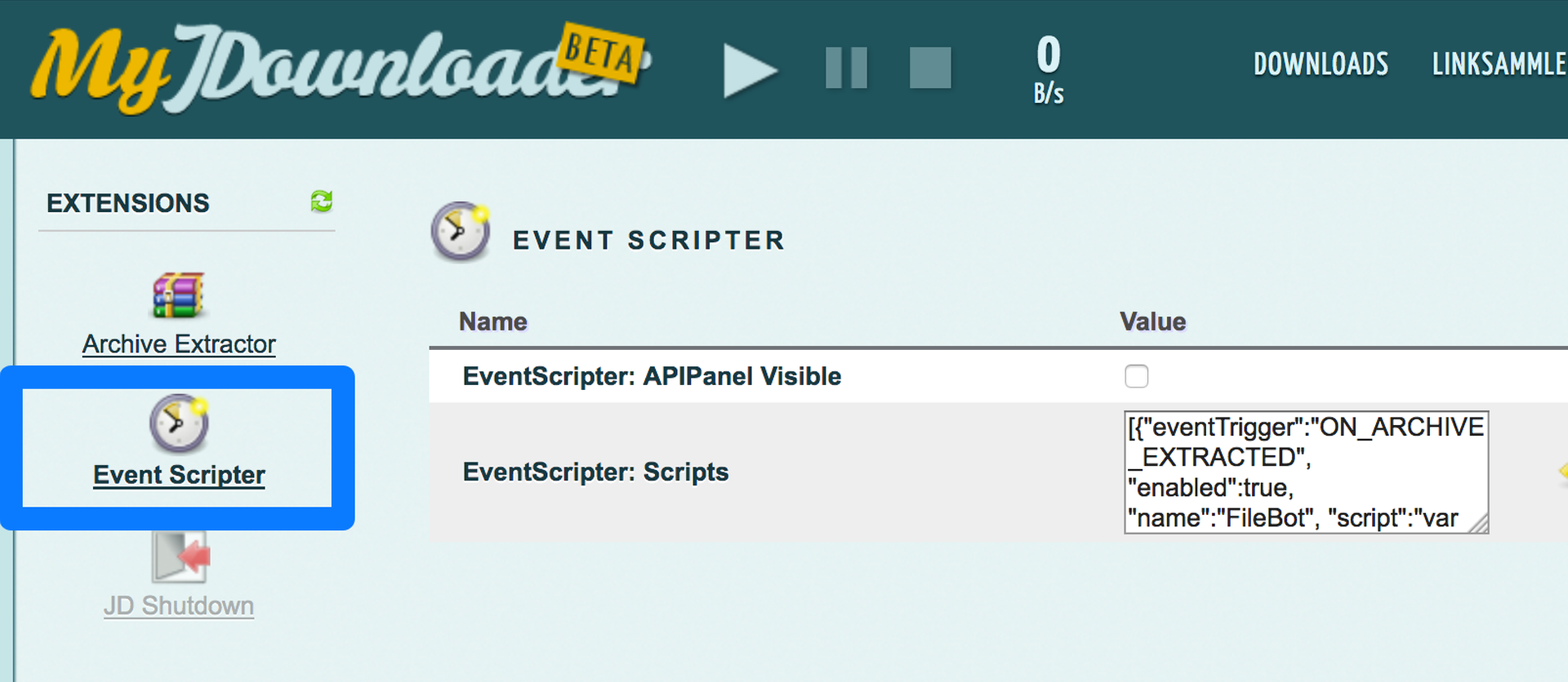 Der Event Scripter unter my.JDownloader in den Einstellungen