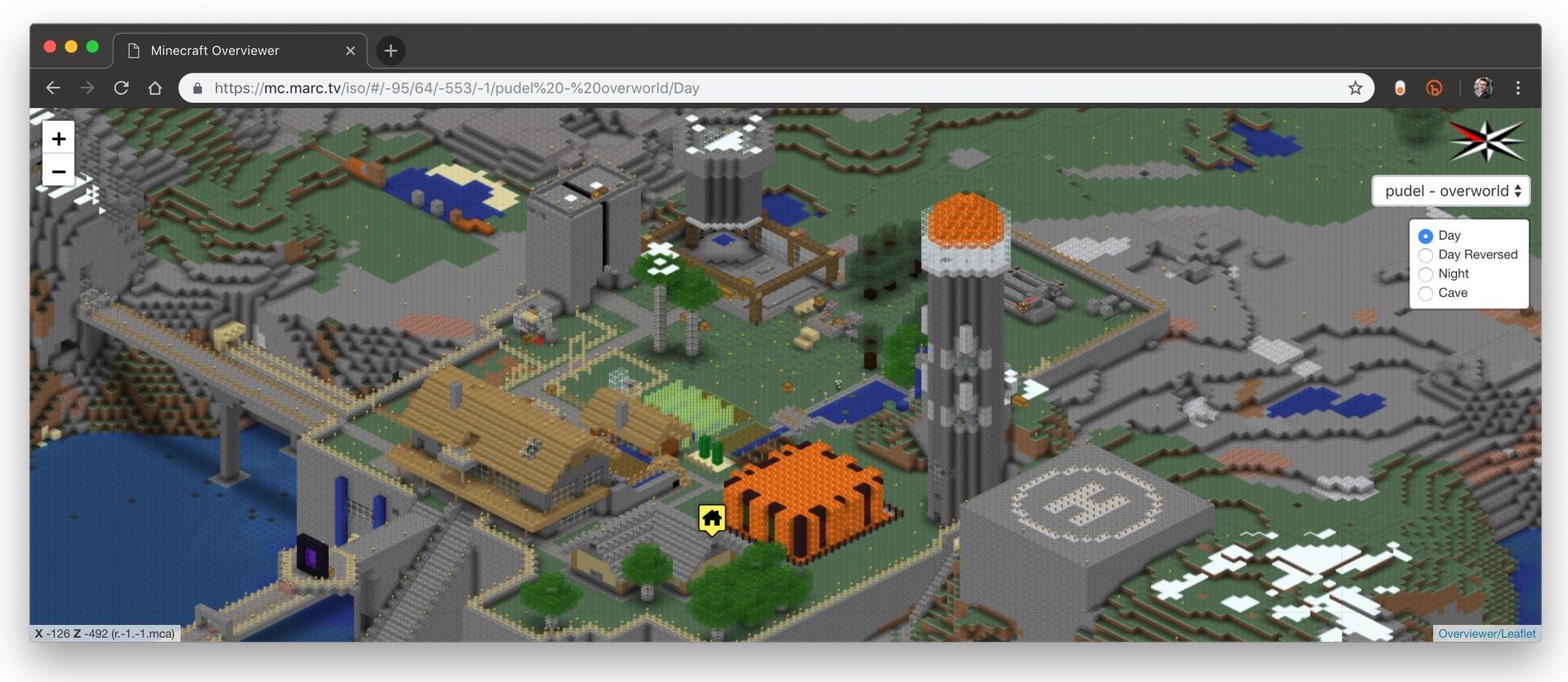 Isometrische Minecraft-Karte mit Overviewer generiert