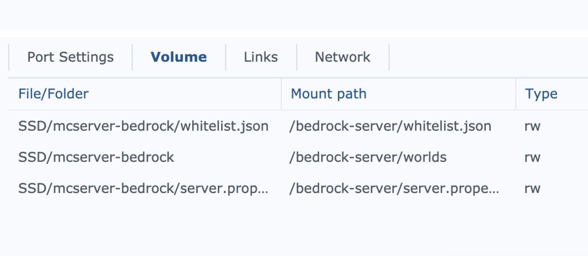 So sieht der mount path mit server.properties Datei (NICHT Verzeichnis!) aus.