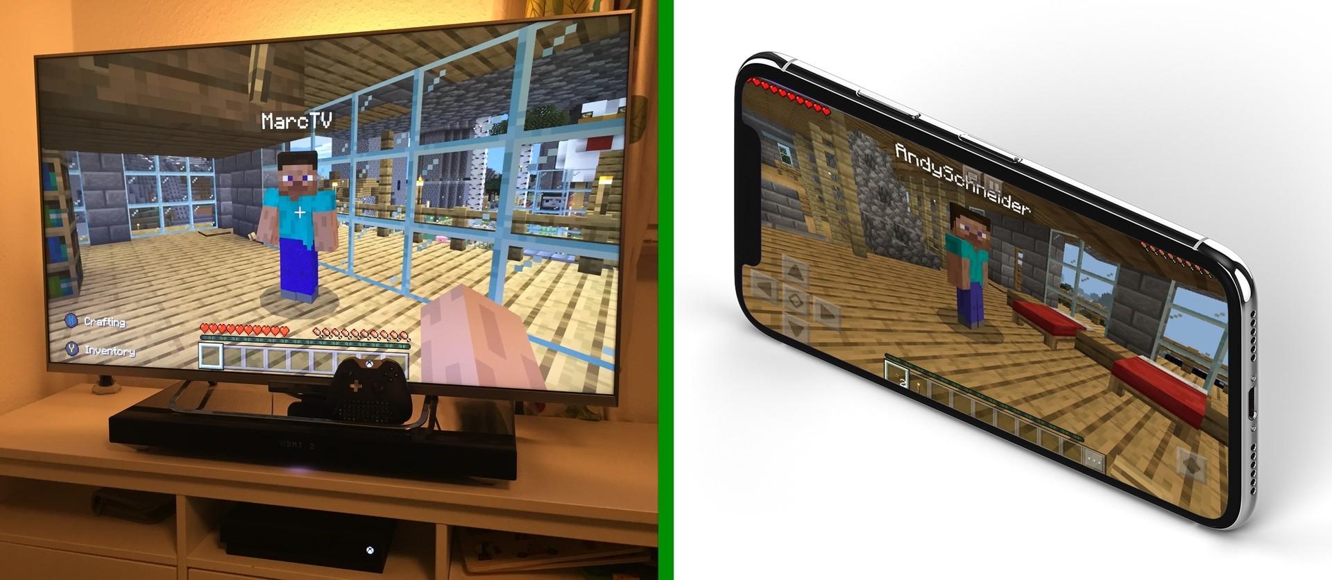 Andy's Xbox ONE und mein iPhone auf dem meinem Bedrock Server
