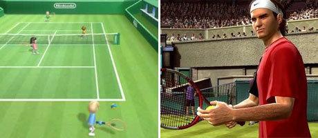 Bei Wii Tennis (Wii) und Topspin 2 (XBOX360) ist nur die Sportart gleich