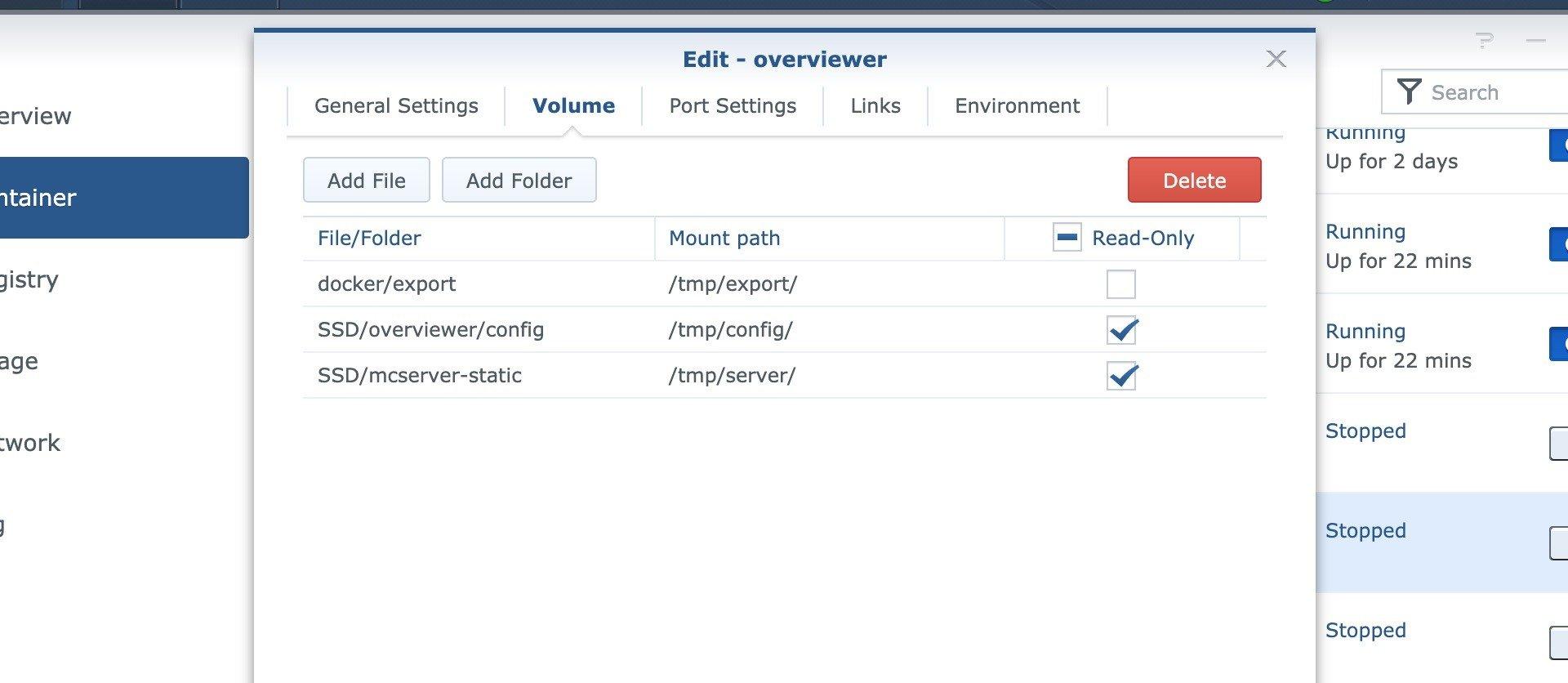 Konfiguration von Overviewer über die Oberfläche von DSM