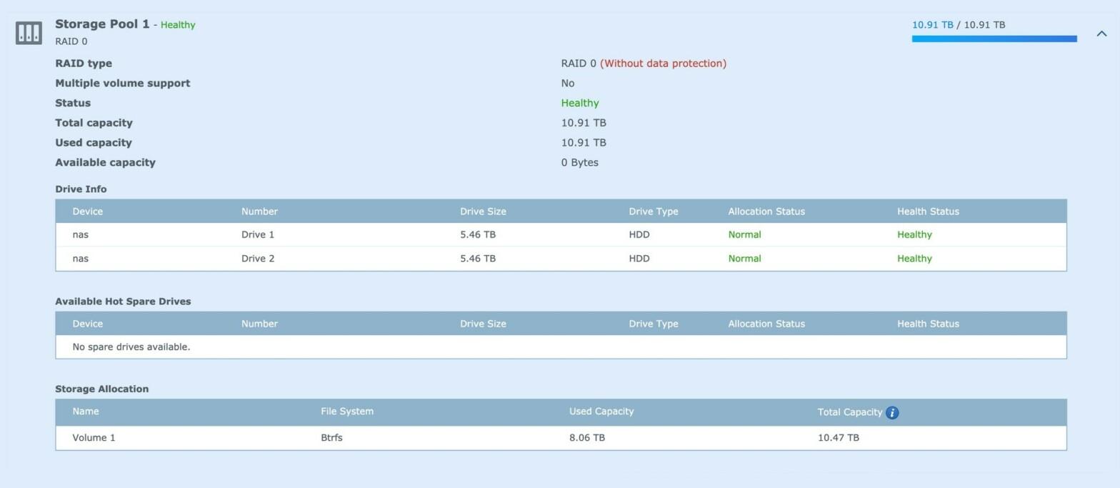 Meine RAID0 Konfiguration im DSM der Synology DS1019+ von 2020