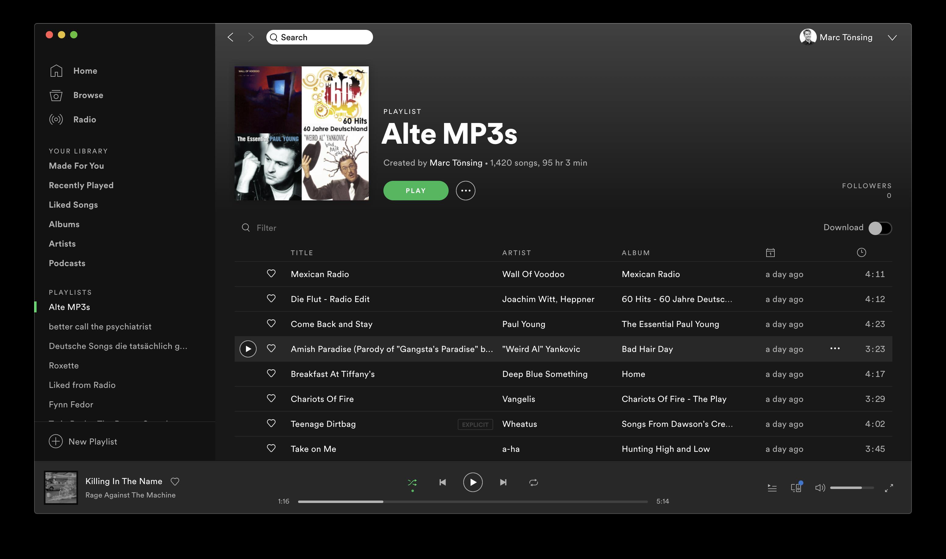 70 % meiner alten MP3-Sammlung stehen nun in Spotify zur Verfügung.