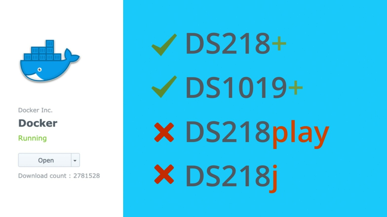 Nur die Synology Plus-Reihe unterstützt Docker.