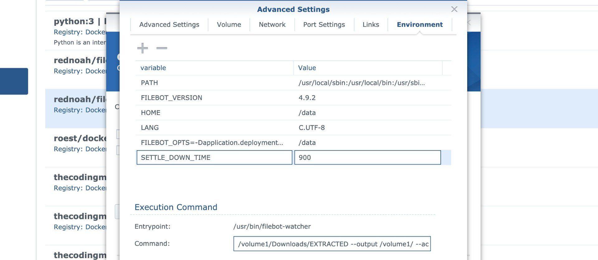 Konfiguration des FileBot im erweiterten Container Menü von Docker.
