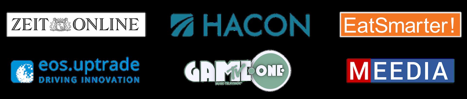 ZEIT Online, HACON – A Siemens Company, MTV GameOne, EatSmarter, eos.uptrade und MEEDIA
