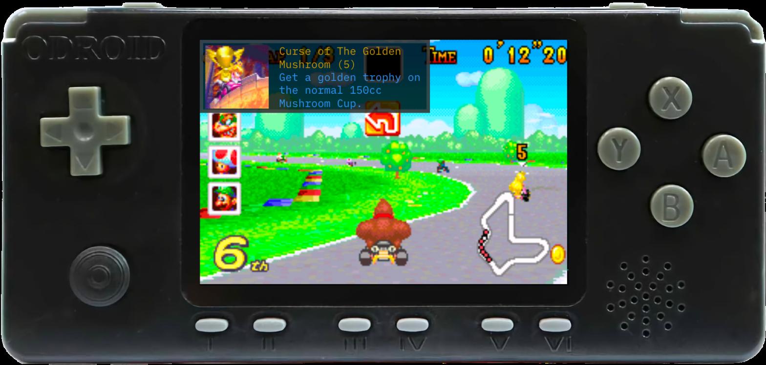 Die freigeschaltete RetroAchievements werden direkt beim Spielen angezeigt.