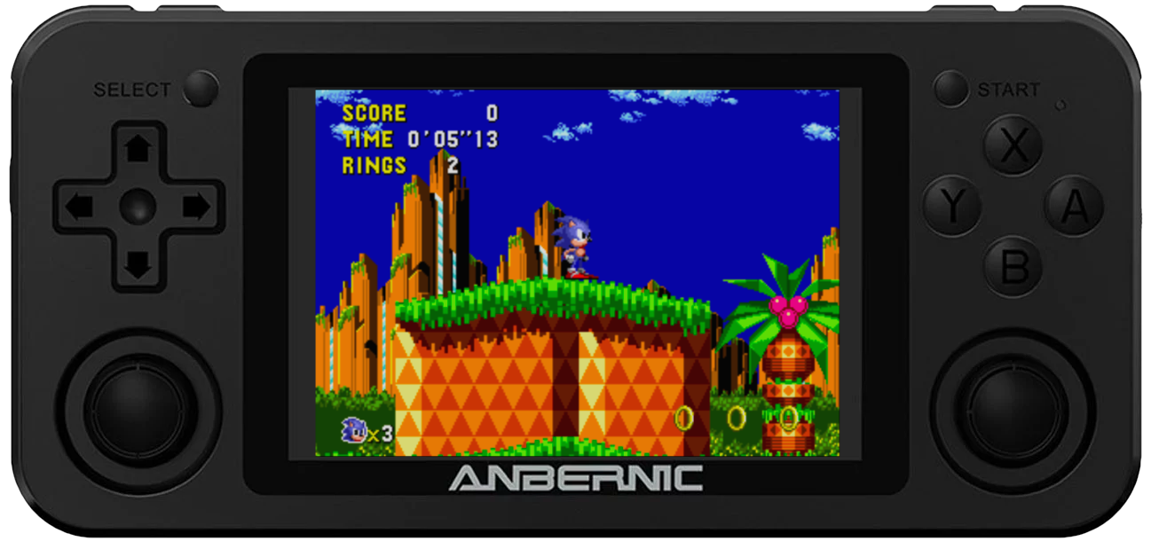 RG351M mit Sonic the Hedgehog auf dem MegaDrive