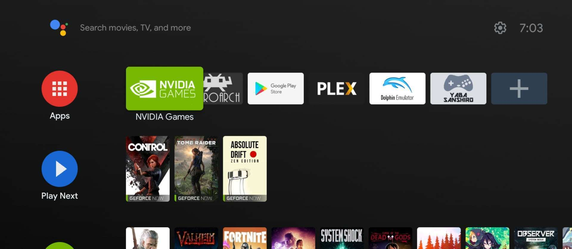 Der aufgeräumte Startbildschirm des Nvidia Shield TV