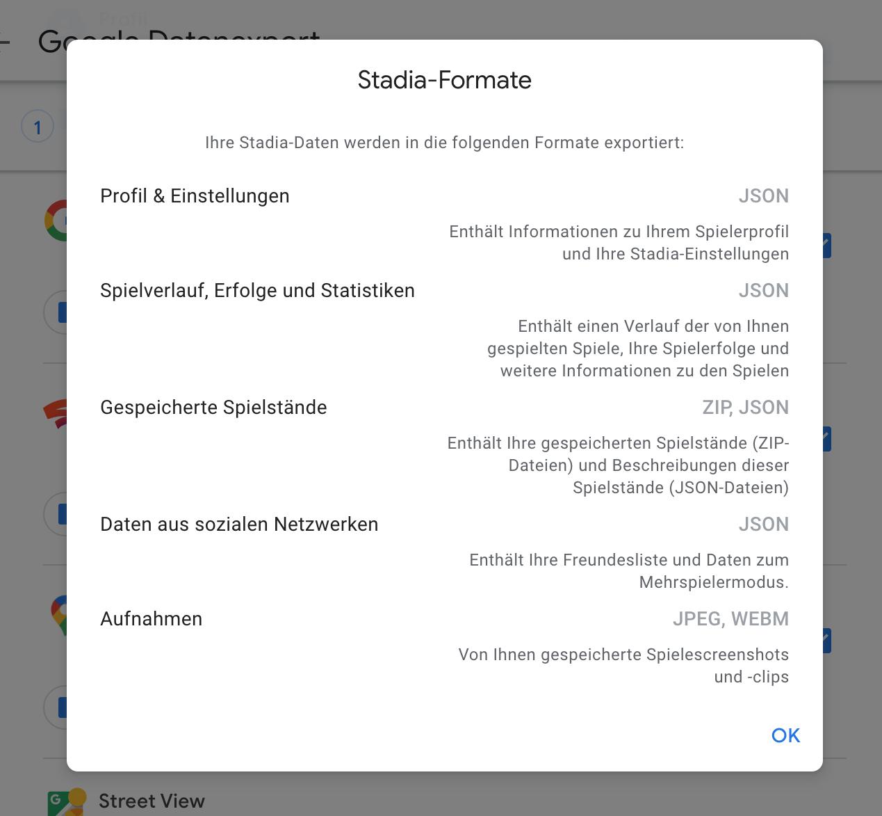 Google Takeout erlaubt den Export der Spielstände von Stadia