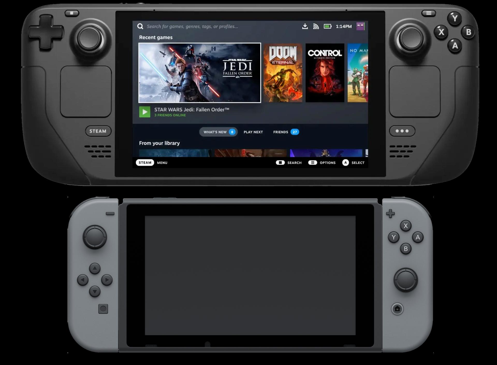 Steam Deck 29,8 cm vs. Nintendo Switch 23,9 cm